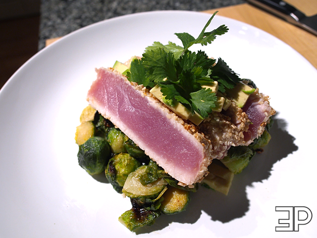 sesame crusted tuna and maple miso brussel sprouts | The Emerald Palate