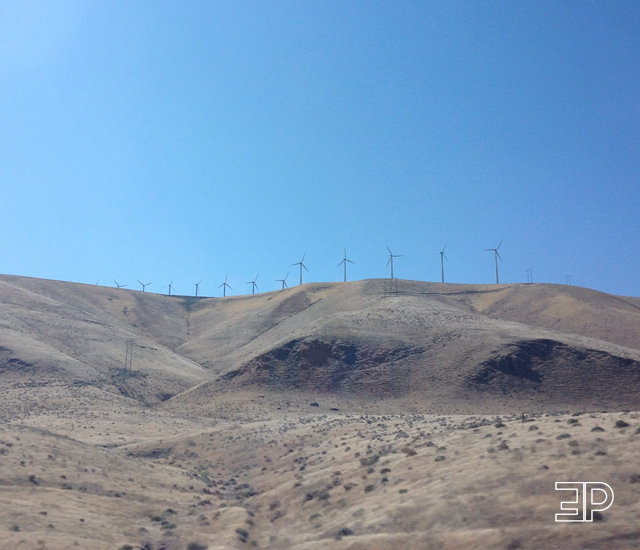 windmills in the beautiful desert landscape of Walla Walla and Yakima, WA - via The Emerald Palate