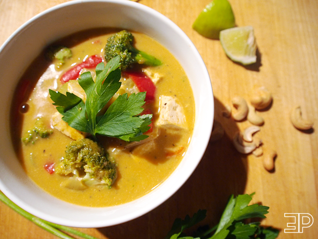 an easy homemade pumpkin curry recipe with tofu. Tasty and healthy!
