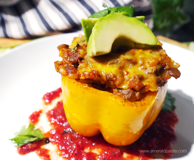 These vegetarian honey-lime stuffed peppers have a twist. Unlike your traditional Mexican stuffed peppers, they are meat-free and healthy. We used wheat berries, lentils, pureed sweet potatoes, ancho peppers, and fire roasted tomatoes to give it a lean, but flavorful kick.