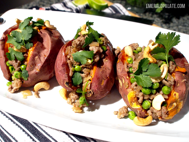 Curry stuffed sweet potatoes mean you have a ton of hearty flavor ...
