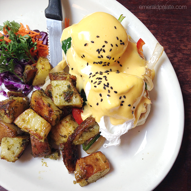 Smoked albacore tuna eggs Benedict from Mo:Le in Victoria, BC, a farm-to-table, Mexican-inspired brunch spot in Victoria that serves up unreal breakfast.