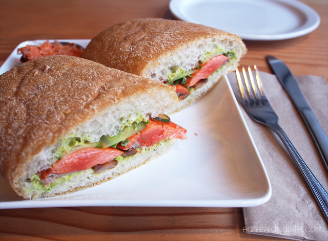 Tender smoked salmon sandwich from Fishhook in Victoria, BC.