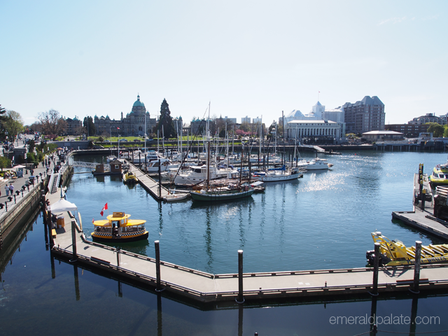 Waterfront view of Victoria, BC with Parliament in the background.