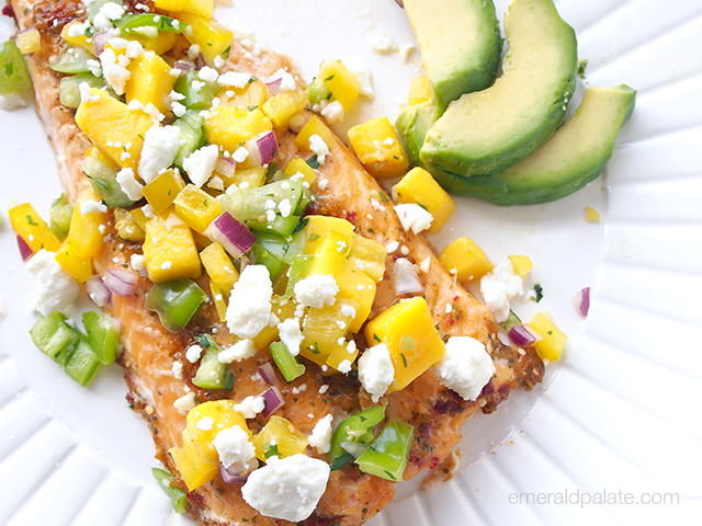 Making your own homemade salsa is so easy! This tomatillo-mango salsa is served with Arctic char, but you can use it for anything (like carnitas, for example). Via @emeraldpalate