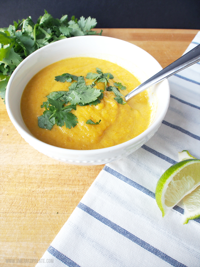 This carrot parsnip soup recipe is healthy and easy. It merges Thai ingredients like curry and coconut with Egyptian spices like dukkah.