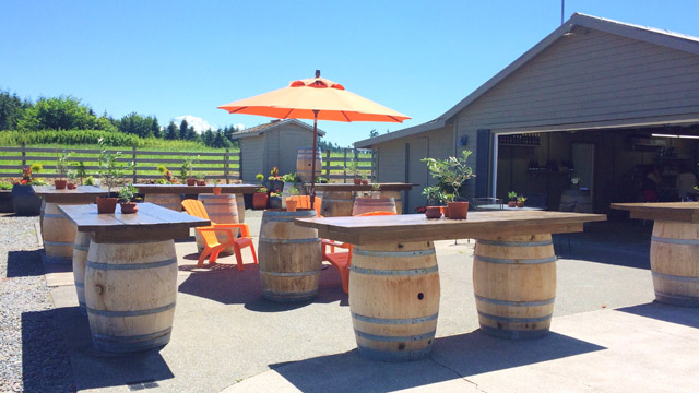 Farm Shed Wines has a beautiful outdoor patio in the warmer weather where you can sip sustainable wines from the Pacific Northwest.