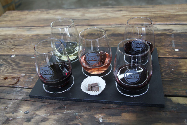 A wine tasting flight from Farm Shed Wines, a speciality shop outside of Seattle that sells wines from small wineries in the PNW.