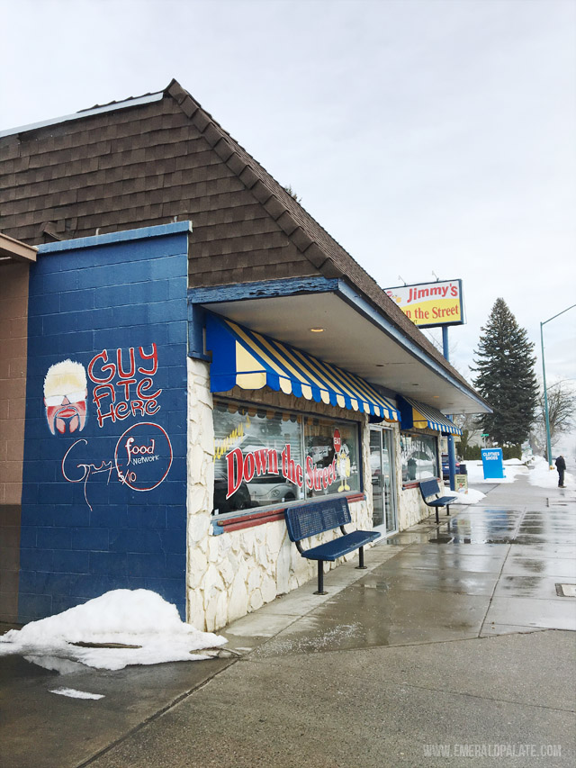 Jimmys Down the Street, a diner in Couer DAlene Idaho that is featured on Guy Fieris Diners, Drive Ins, and Dives for their insanely big cinnamon roll