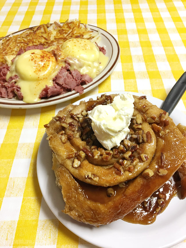 The Irish eggs benedict and insanely big cinnamon roll from Jimmys Down the Street in Couer dAlene, Idaho. As featured on Guy Fieris Diner, Drive Ins, and Dives.