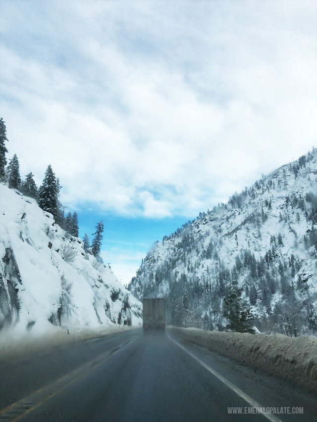 the open road over the Pass in Washington, en route to Idaho to go skiing.