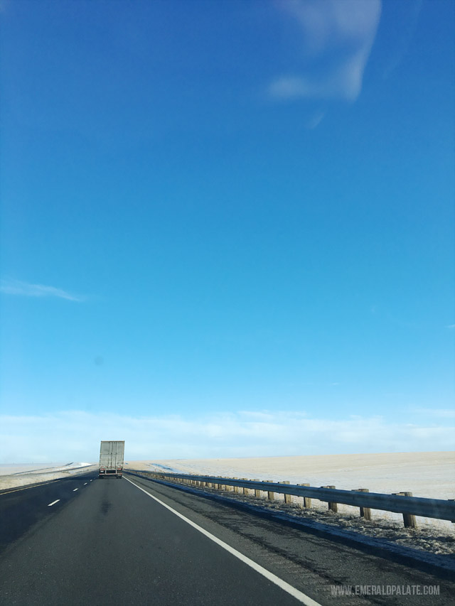 The open road in Eastern Washington on the way to Idaho.