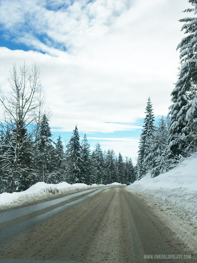 The open road on the way to Schweitzer Mountain Resort in Idaho, a popular ski resort.