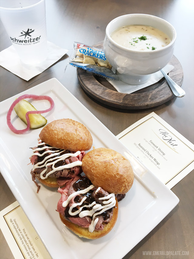Shaved roast beef sliders with horseradish cream and amazing New England clam chowder from the lodge at Schweitzer Mountain Resort in Idaho, a popular ski resort.