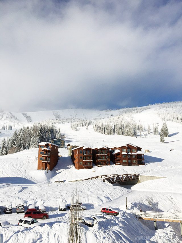 The view from our room at Schweitzer Mountain Resort, a ski destination in Idaho.