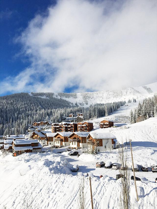 Condos nestled on Schweitzer Mountain Resort in Idaho, a popular ski resort in the Pacific Northwest.