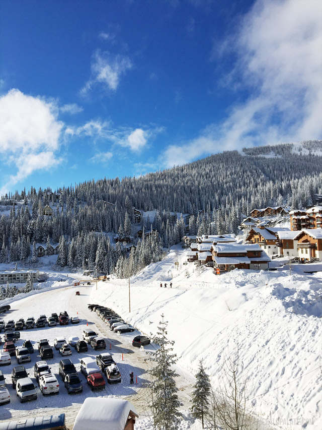 View of the Schweitzer Mountain Resort in Idaho. This is the view from condos in the resort center, overlooking this popular ski resort.