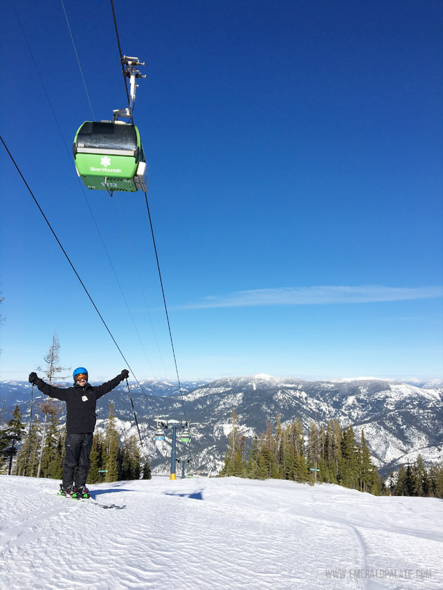 Picture of skier at Silver Mountain Resort in Idaho.