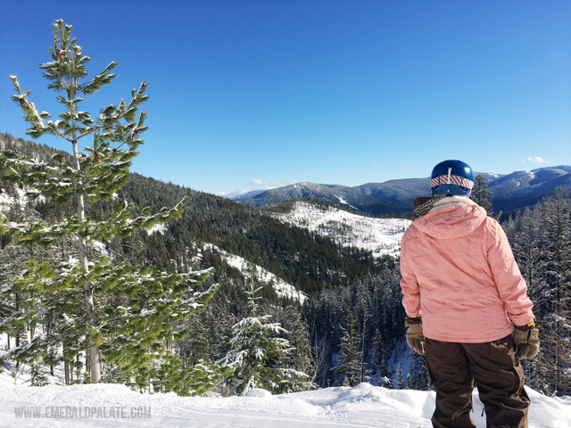 View while skiing at Silver Mountain Resort in Idaho.