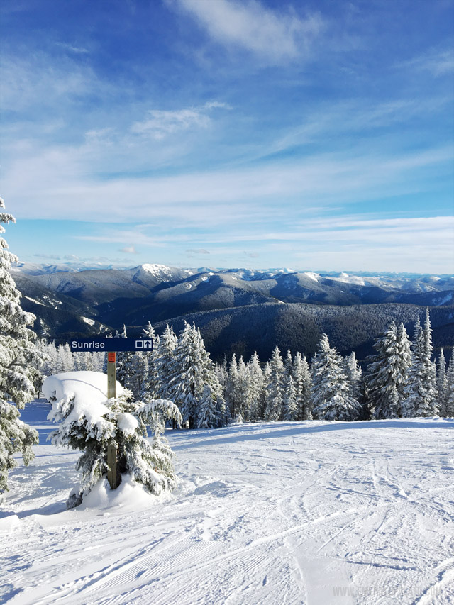 Views from the top of Silver Mountain Resort. The landscape in Idaho and ski conditions are absolutely breathtaking.