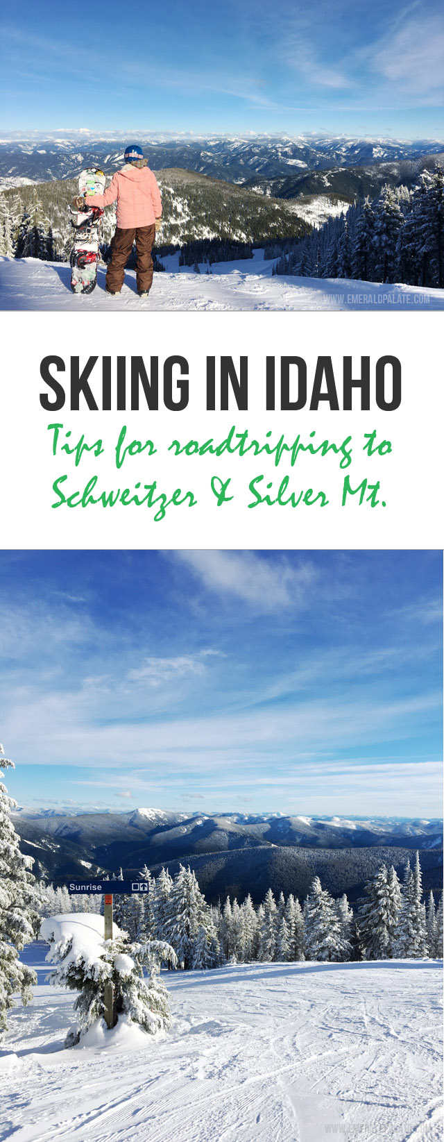 Tips for driving from Seattle to Idaho and making the most of your time skiing at Schweitzer Mountain and Silver Mountain in Idaho. Includes recommendations of what to eat, drink, and do while in northern Idaho during the winter.