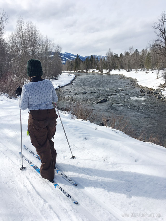 A beginners cross country skiing trail option in Winthrop, WA near the Methow Valley.
