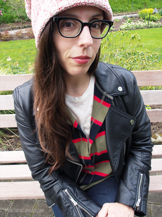 A closeup of my borrowed from the boys style: slouchy knit beanie, big black frame glasses, striped vintage henley rugby shirt, and a faux leather jacket. And don't forget some lipstick to round out this spring fashion inspiration!