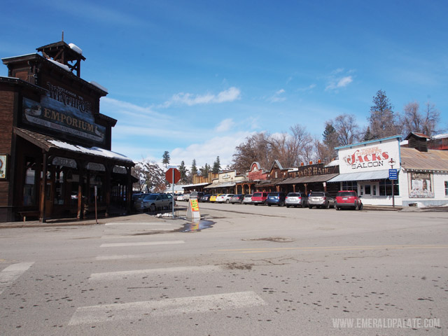 The main street of downtown Winthrop, WA, a small winter town in central Washington that hosts a hot air balloon festival in March and is home to the largest network of cross country skiing trails in the US.