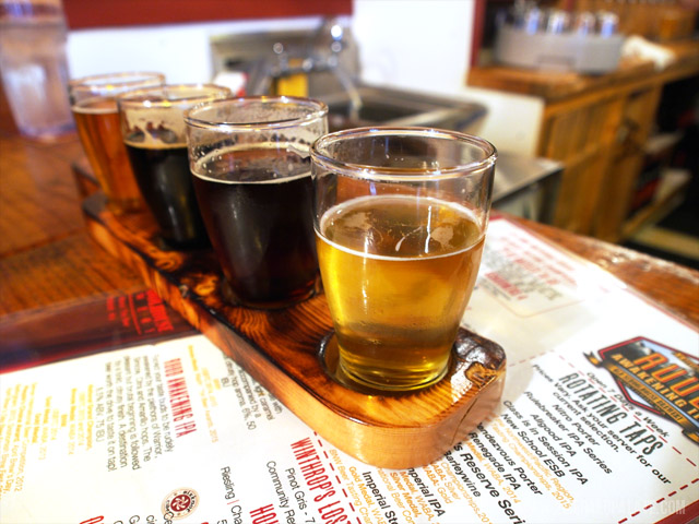 Beer samples at Old Schoolhouse Brewery in Winthrop, WA, a craft brewery in central Washington.