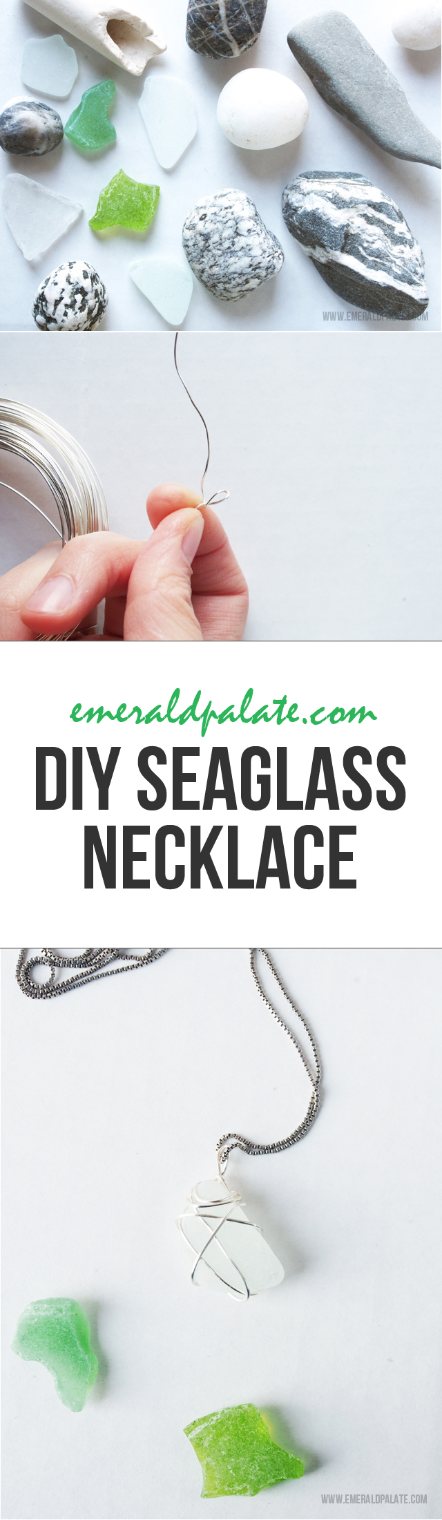 An easy and affordable DIY necklace made with sea glass and stones found on the beach. All you need is wire, scissors, tweezers, and the stone or sea glass you want to wrap!