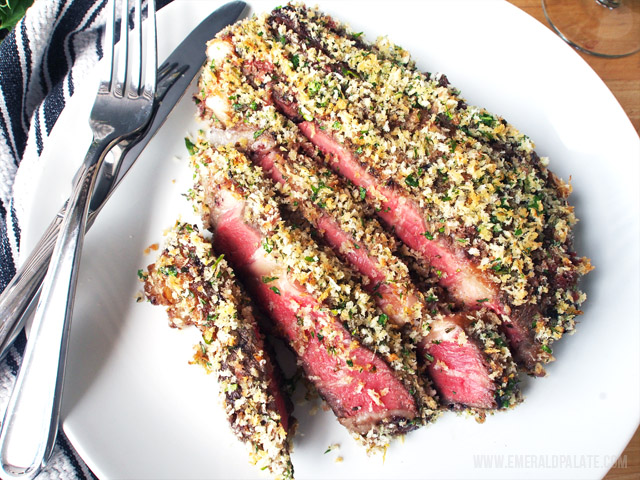 This easy steak recipe features a rosemary, mustard, and jam sauce and a crunchy, zesty panko crust. It is so easy and perfect for holidays.