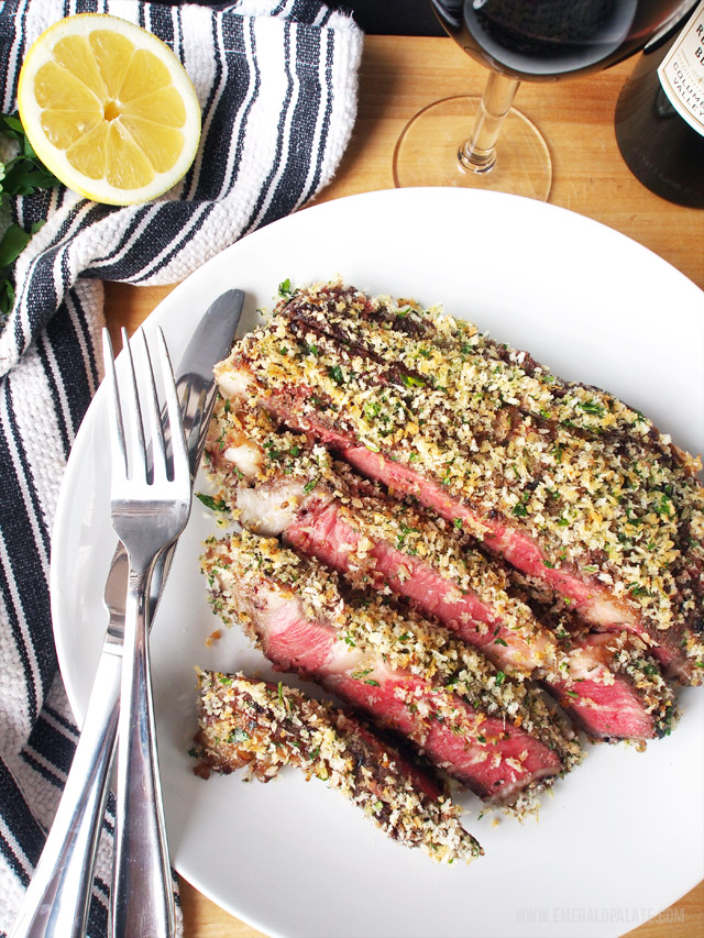 This easy steak recipe is so mouth watering! First you rub it in a rosemary, mustard, jam sauce and then you encrust it with a garlic-y lemon crust. You will be sure to impress everyone with this recipe!