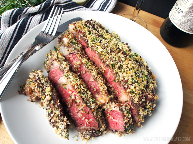 The rosemary-jam crust on this rib eye steak makes it super crunchy and flavorful. I love serving this with a big, full-bodied red wine.