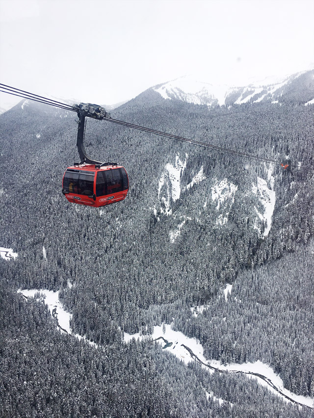 A gondola car on the Peak 2 Peak in Whistler, BC.