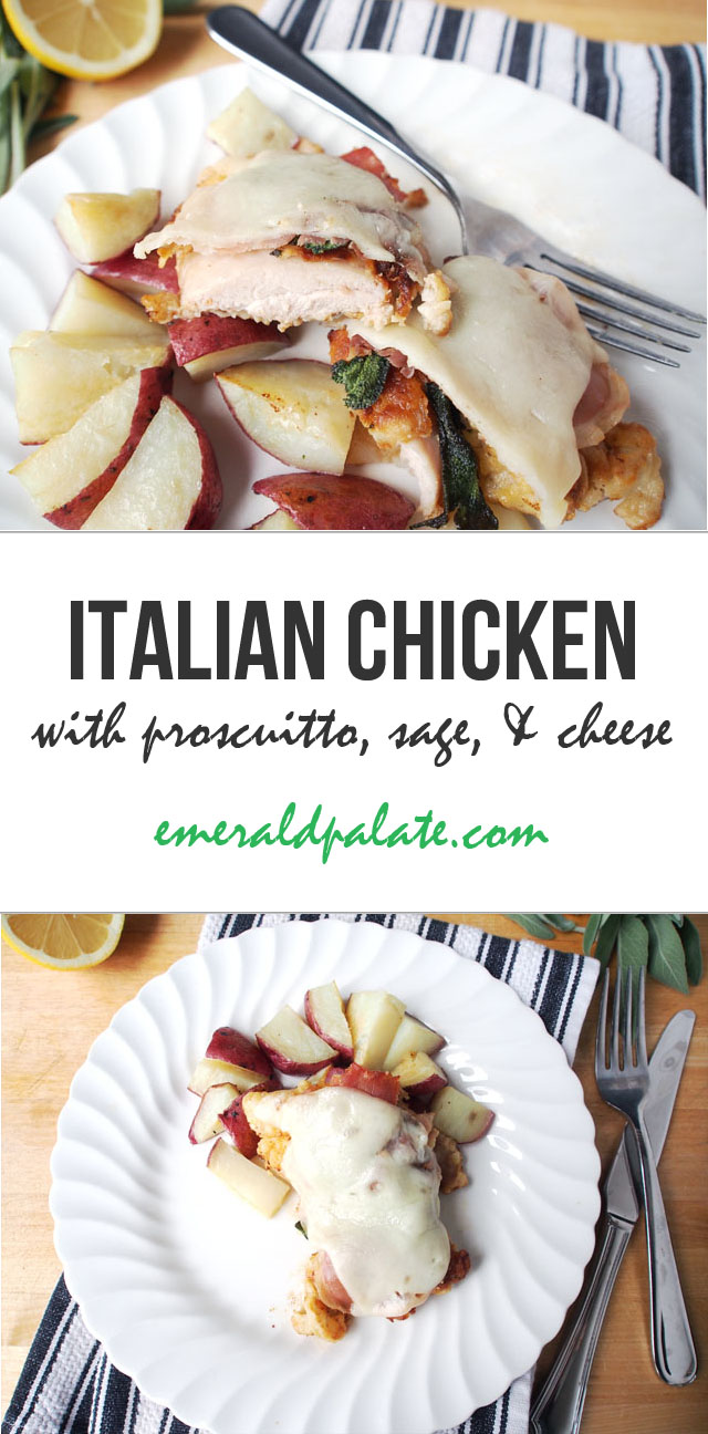 This Italian chicken recipe is so easy and tasty! It includes proscuitto, sage, and provolone...an Italian take on the famous Cordon Bleu recipe!