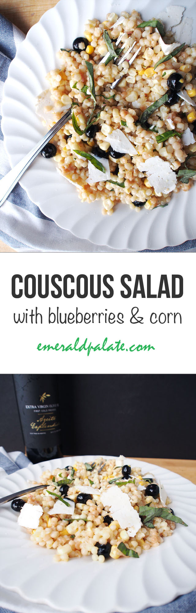 This Israeli couscous salad recipe has blueberries, fresh corn, and Esplendido Douro extra virgin olive oil. It's about to be your new favorite, easy summer recipe!