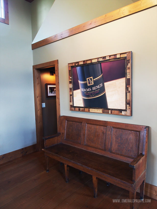 A vintage school bench at Adams Bench, one of the best wineries near Seattle in Woodinville.