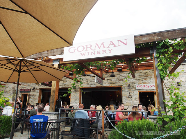 Gorman Winery is a lively wine tasting room and restaurant in Woodinville, WA, an area you can do wine tasting near Seattle.