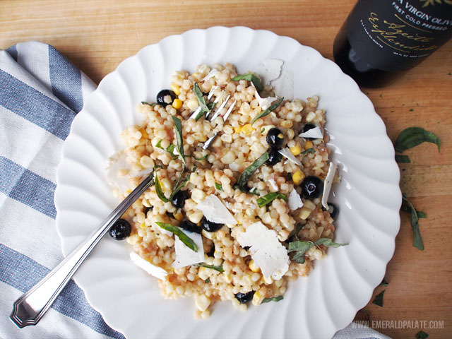 Israeli couscous salad with fresh corn, blueberries, and tarragon.