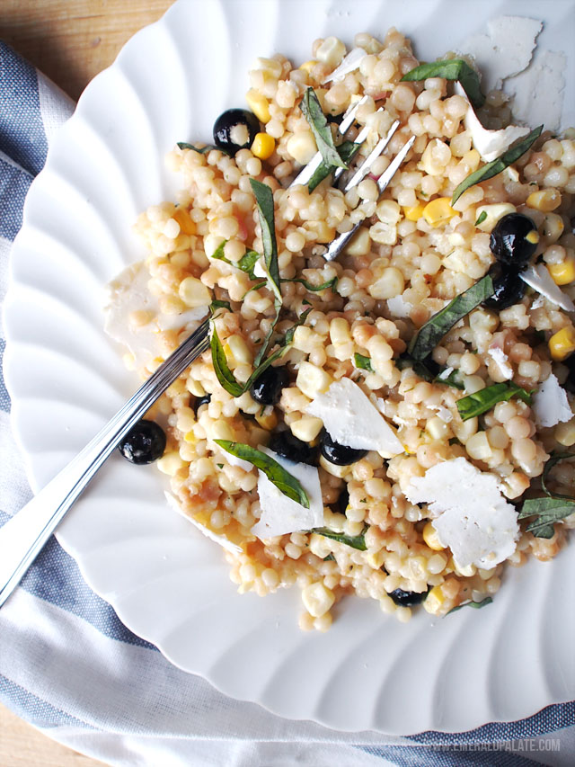 Looking for an easy summer recipe? Try this Israeli couscous salad with tarragon, corn, and blueberries.