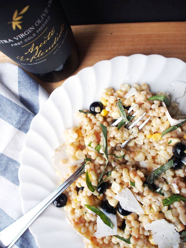 Esplendido Douro is a Portugese extra virgin olive oil that's mild and grassy. It goes great with this Israeli couscous salad that mixes blueberries and fresh corn.