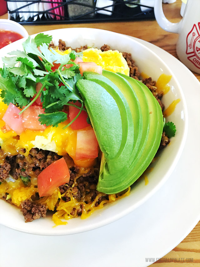 Taco scramble at The Blockhouse Cafe in Willamette Valley Oregon. One of my favorite brunch spots in Oregon!