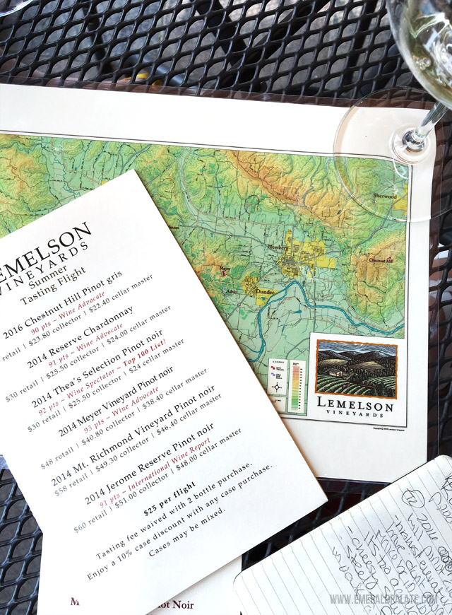 Wine tasting notes and maps at Lemelson Vineyards in Willamette Valley Oregon.
