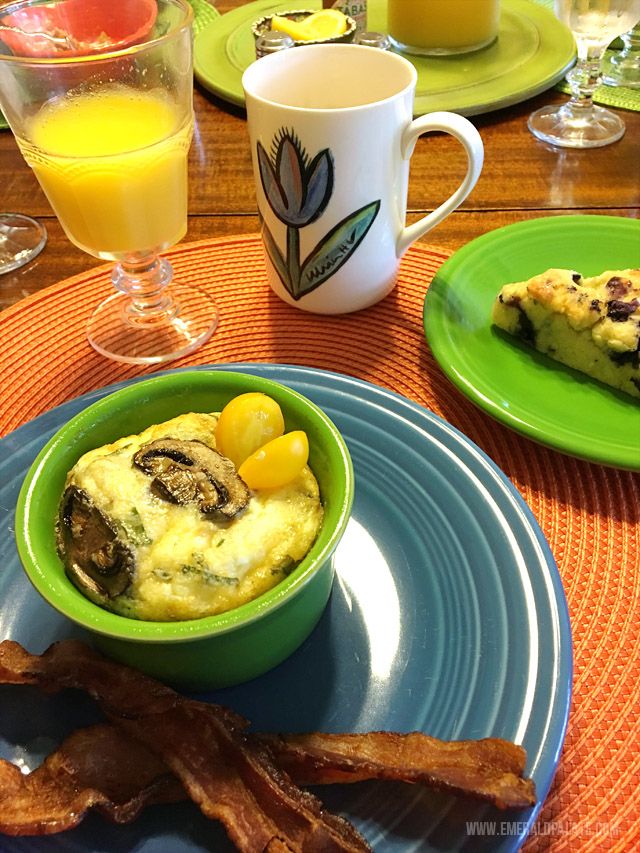 Breakfast at The McClaine House, a quaint bed and breakfast in Oregon's Willamette Valley. Everything was homemade and so good!