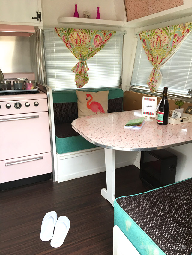 The inside of a retro trailer in Willamette Valley Oregon. Take glamping to a whole new level!