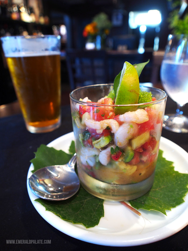 The Silver Grille in Silverton, Oregon is a great place to eat in the WIllamette Valley Oregon. This was the super flavorful shrimp ceviche.