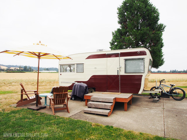 The Vintages Trailer Resort in Willamette Valley, Oregon has cute-as-a-button retro trailers lined up along fields.
