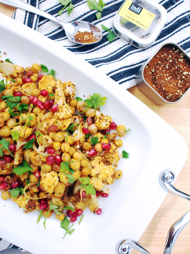 This roast cauliflower side dish can be prepped in 10 minutes and features Mediterranean flavors like chickpeas and pomegranates. There is also Indian-inspired flavors from the cacao-masala.