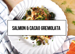 Link to an easy and healthy Valentines Day recipe: salmon with olives, fennel, orange, and a pistachio-cacao nib gremolata. Plus, there are wine pairing suggestions!