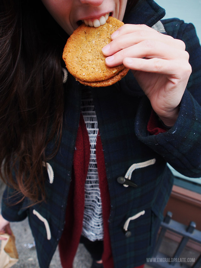 One of the best peanut butter cookies I ever had from a place called Dahlia Bakery in Seattle.